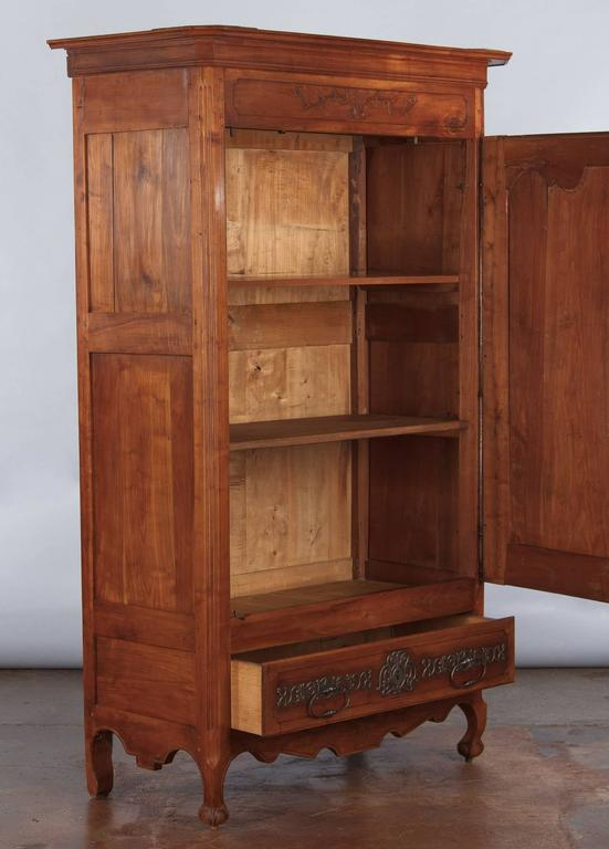 French Louis XV Cherrywood Bonnetiere Armoire, 18th Century For Sale 3