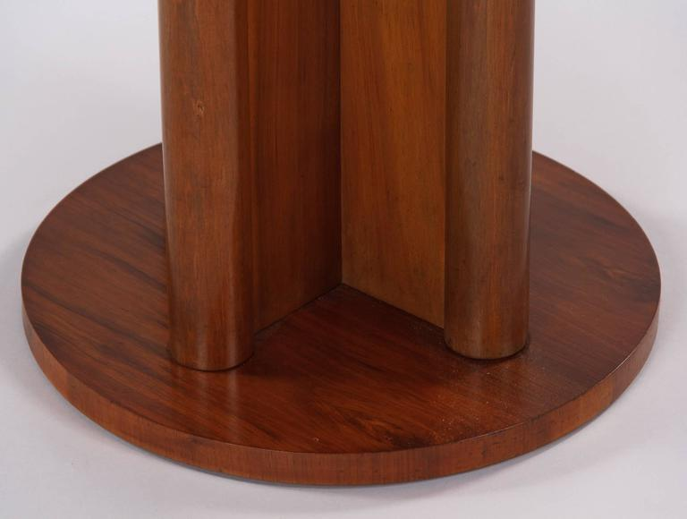French Art Deco Round Walnut Side Table, 1930s For Sale 4