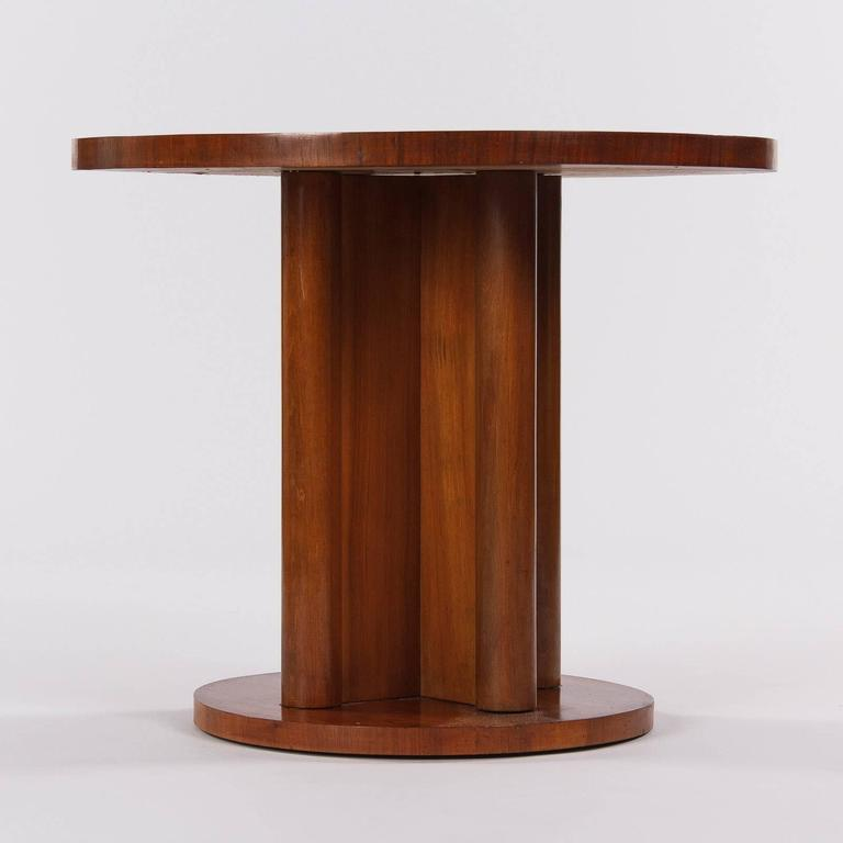 French Art Deco Round Walnut Side Table, 1930s For Sale 3