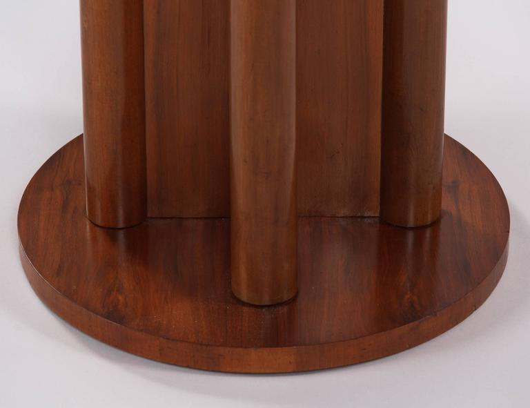 French Art Deco Round Walnut Side Table, 1930s For Sale 5