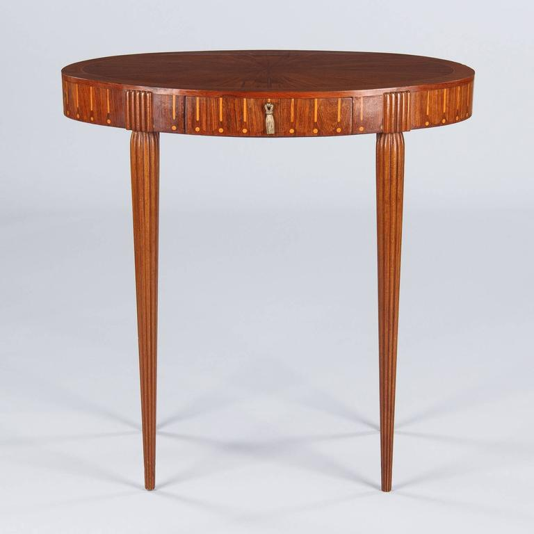 French Art Deco Oval Side Table In The Style Of Ruhlman 3