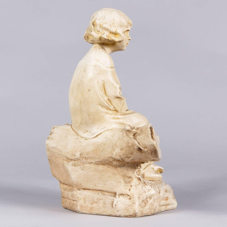 French Plaster Figurine of a Young Girl, Early 1900s For Sale 2