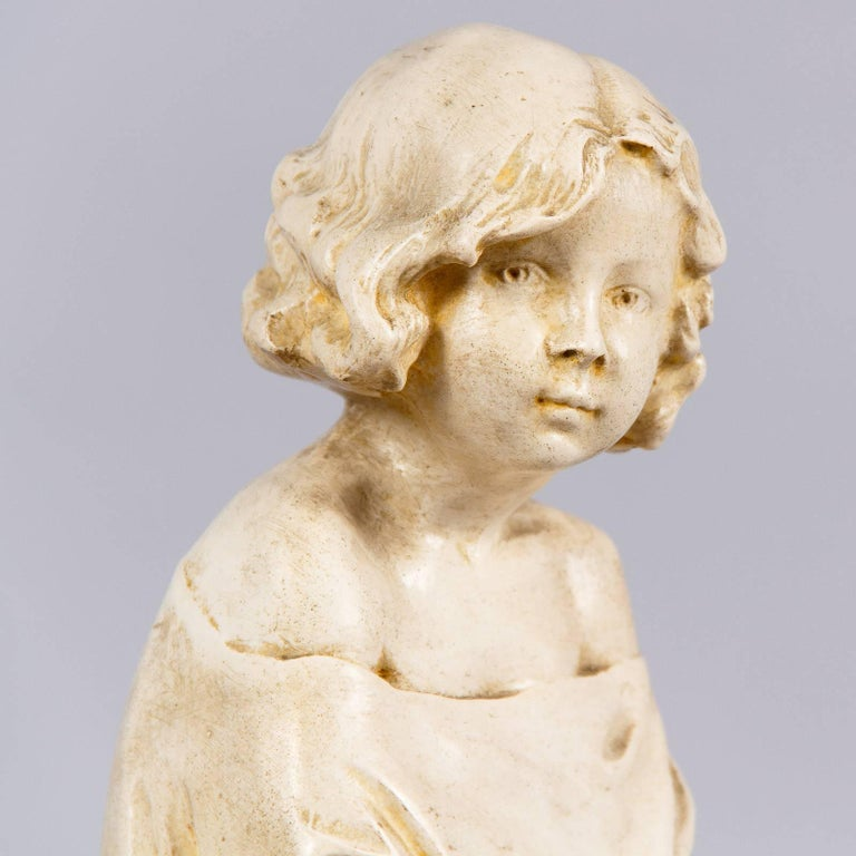 French Plaster Figurine of a Young Girl, Early 1900s For Sale 3