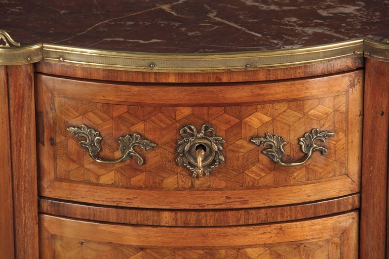 Louis XV-Louis XVI Transition Marquetry Chest with Marble Top, 1900s For Sale 9