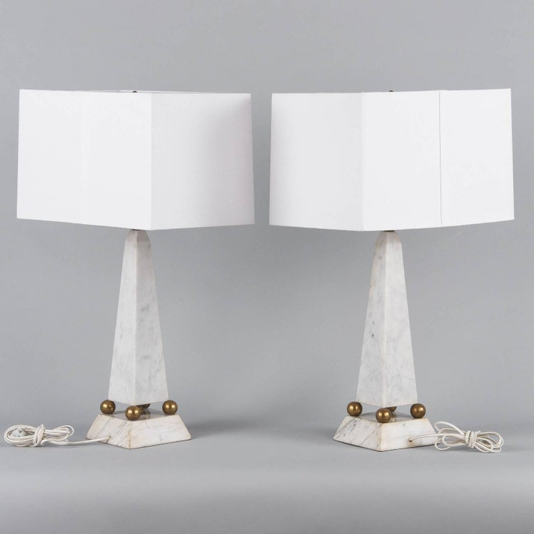 Pair of Art Deco Marble Table Lamps, Italy, 1930s For Sale 10