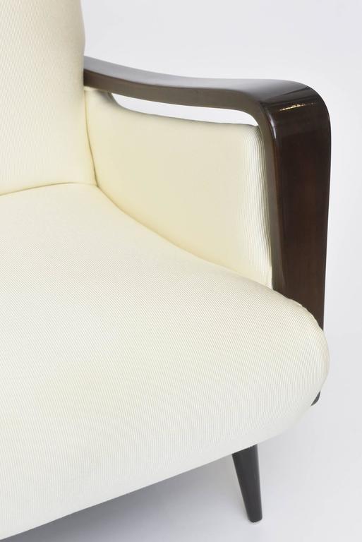 Upholstery Midcentury Melchiorre Bega Italian Modern Dark Walnut Upholstered Club Chairs For Sale