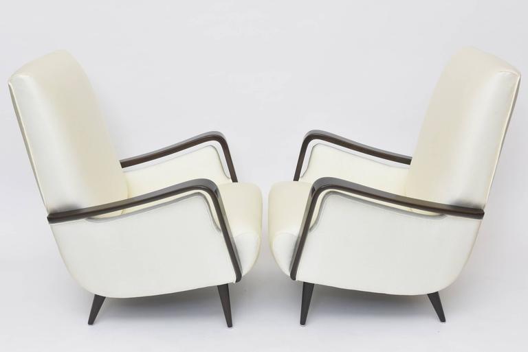 20th Century Midcentury Melchiorre Bega Italian Modern Dark Walnut Upholstered Club Chairs For Sale