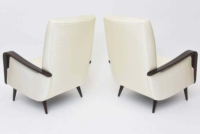 Midcentury Melchiorre Bega Italian Modern Dark Walnut Upholstered Club Chairs For Sale 3