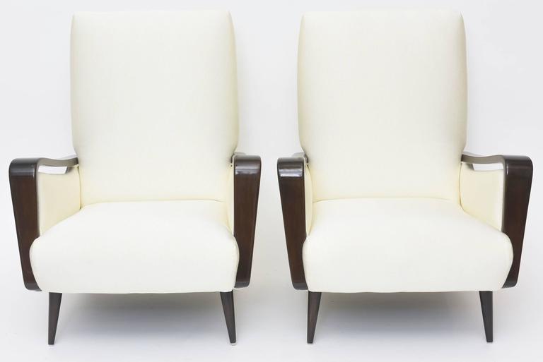 Midcentury Melchiorre Bega Italian Modern Dark Walnut Upholstered Club Chairs For Sale 2