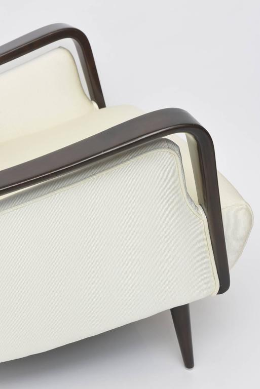 Midcentury Melchiorre Bega Italian Modern Dark Walnut Upholstered Club Chairs For Sale 5