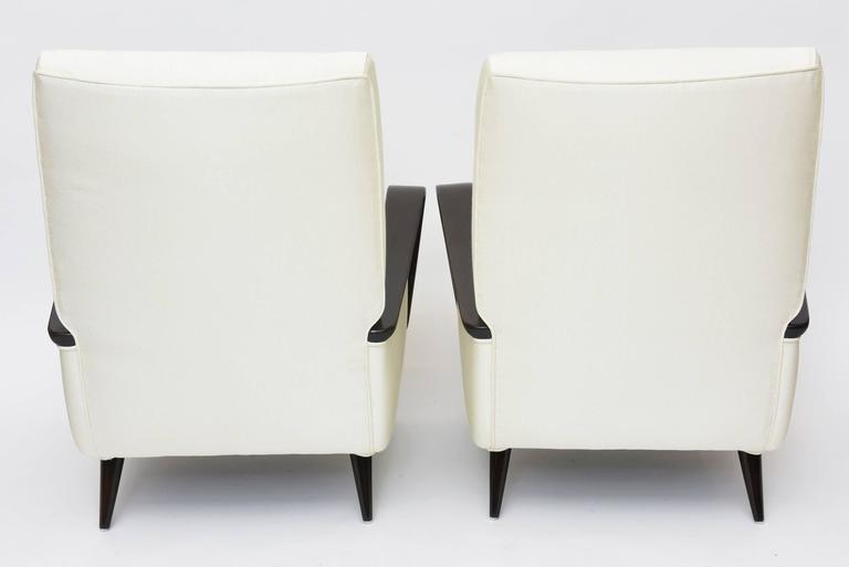 Midcentury Melchiorre Bega Italian Modern Dark Walnut Upholstered Club Chairs For Sale 4