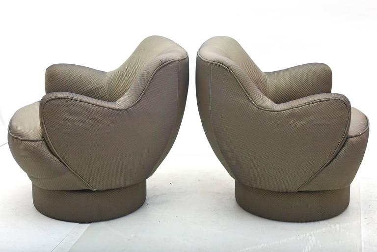 Mid-Century Modern Early and Rare American Modern Pair of Barrel Swivel Chairs, Vladimir Kagan For Sale