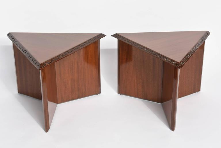 "Pair of American Modern Triangular ""Talesin"" Low Tables, Frank Lloyd Wright 2"