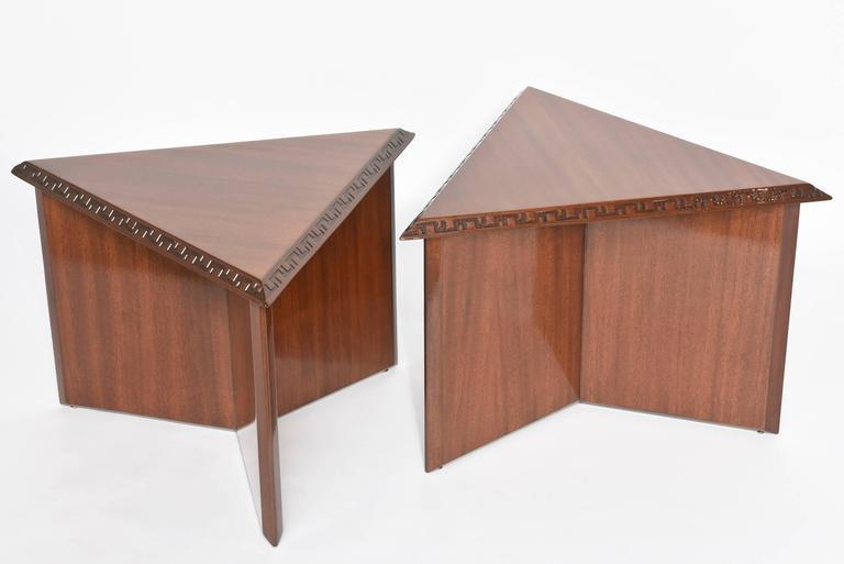 "Pair of American Modern Triangular ""Talesin"" Low Tables, Frank Lloyd Wright 3"