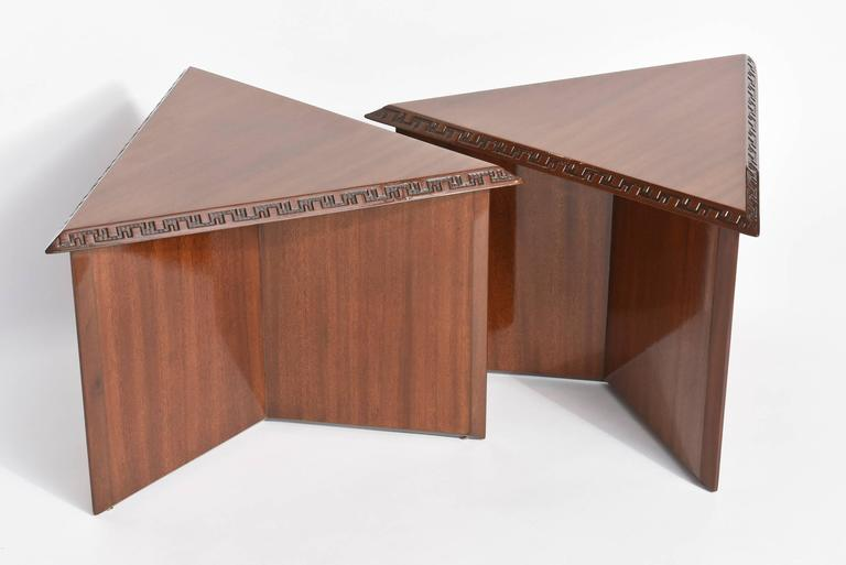 "Pair of American Modern Triangular ""Talesin"" Low Tables, Frank Lloyd Wright 6"