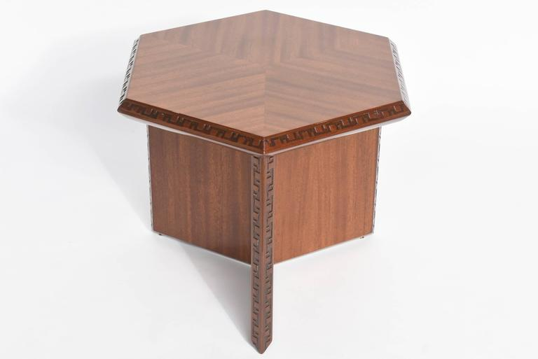 "American Modern ""Taliesin"" Hexagonal Low Table, Frank Lloyd Wright 2"