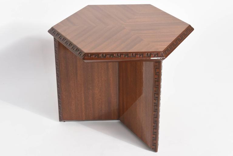 "American Modern ""Taliesin"" Hexagonal Low Table, Frank Lloyd Wright 5"