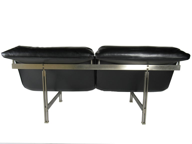 Mid-Century Modern Italian Modern Stainless Steel and Leather Two-Seat