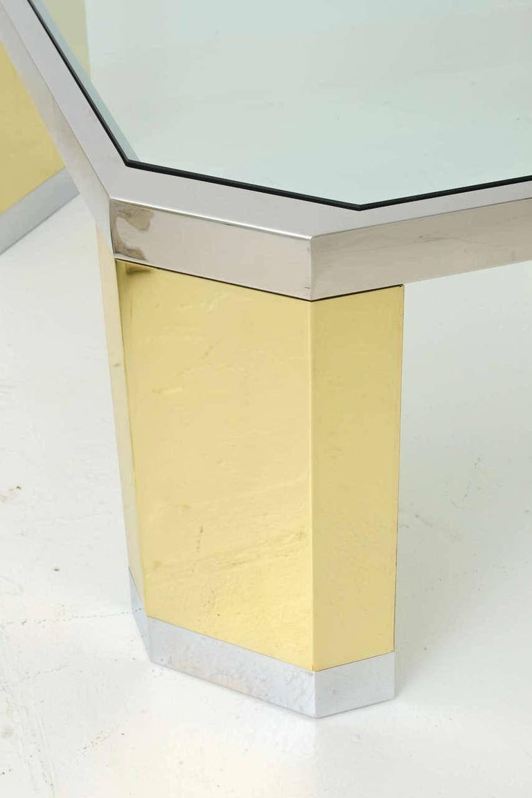American Modern Polished Brass, Chrome and Glass Low Table, Ron Seff, 1970s In Excellent Condition For Sale In Miami, FL