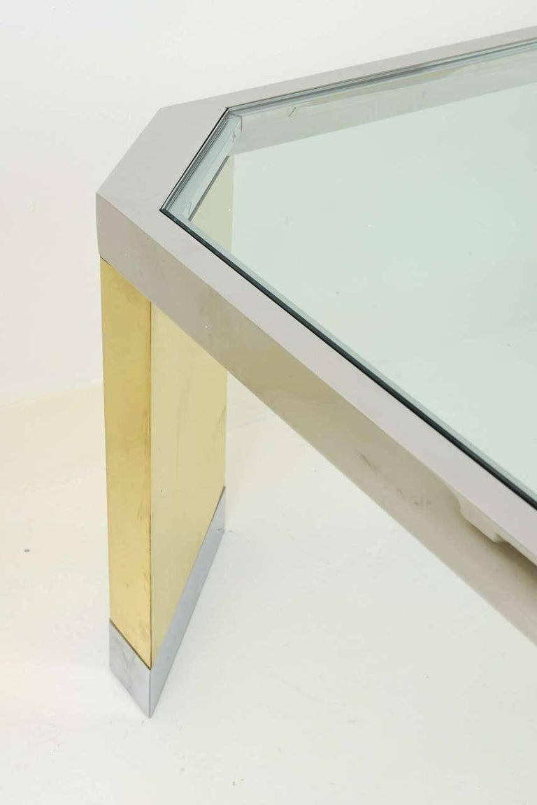 American Modern Polished Brass, Chrome and Glass Low Table, Ron Seff, 1970s For Sale 3