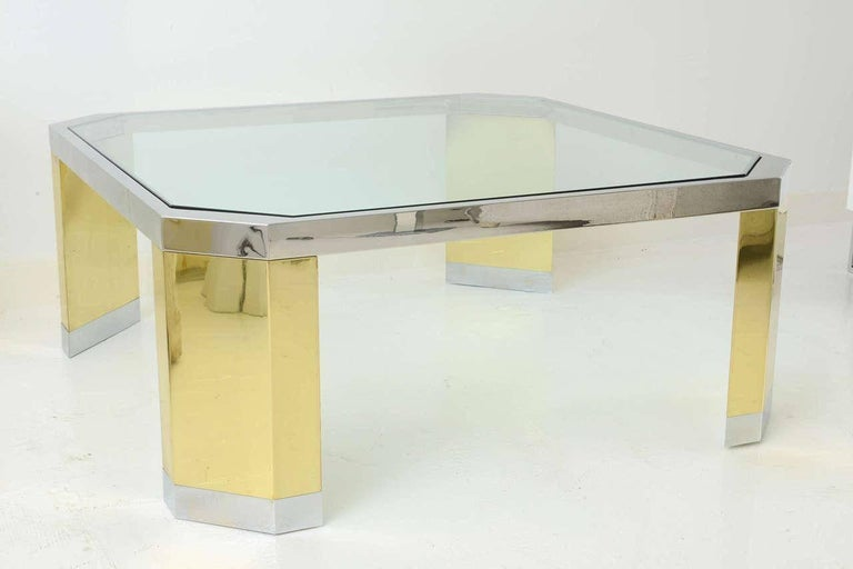 Late 20th Century American Modern Polished Brass, Chrome and Glass Low Table, Ron Seff, 1970s For Sale