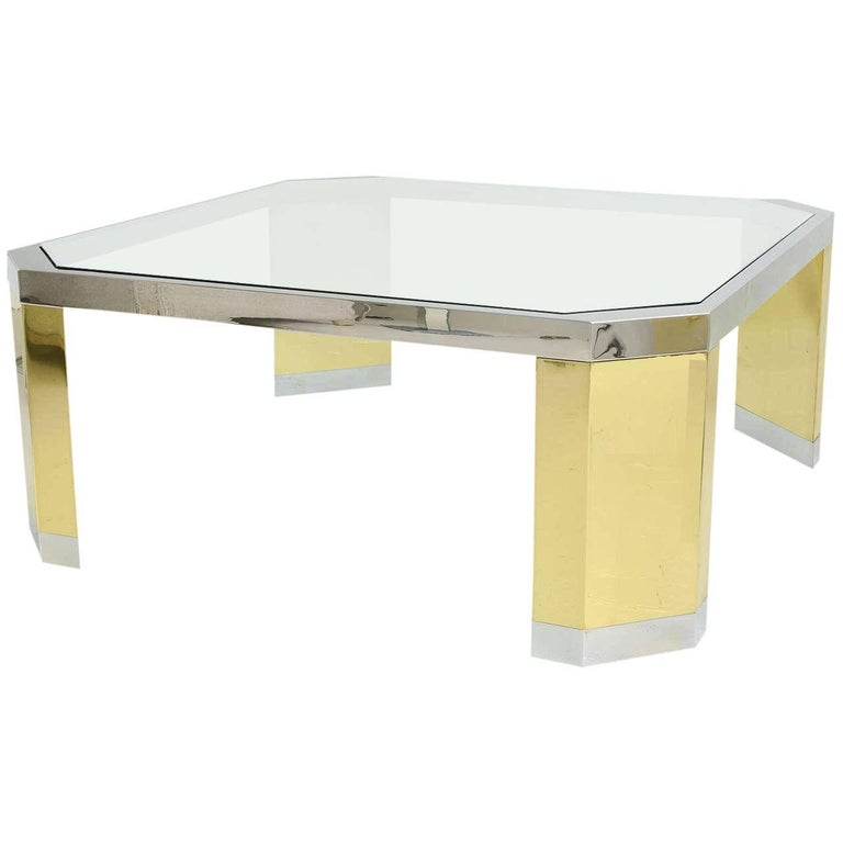 American Modern Polished Br Chrome And Gl Low Table Ron Seff 1970s