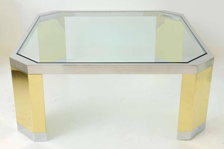 American Modern Polished Brass, Chrome and Glass Low Table, Ron Seff, 1970s For Sale 1