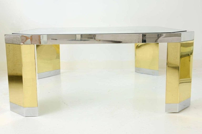 American Modern Polished Brass, Chrome and Glass Low Table, Ron Seff, 1970s For Sale 4