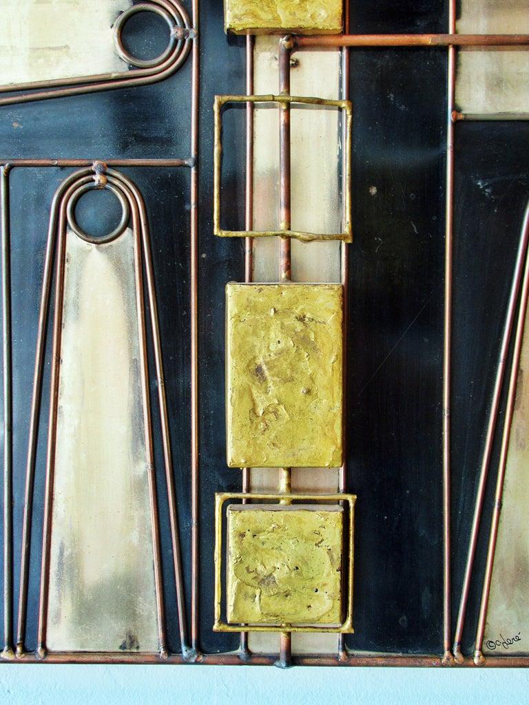Rare Curtis Jere Wall Art Sculpture, Bronze, Brass, Enamel and Steel ...
