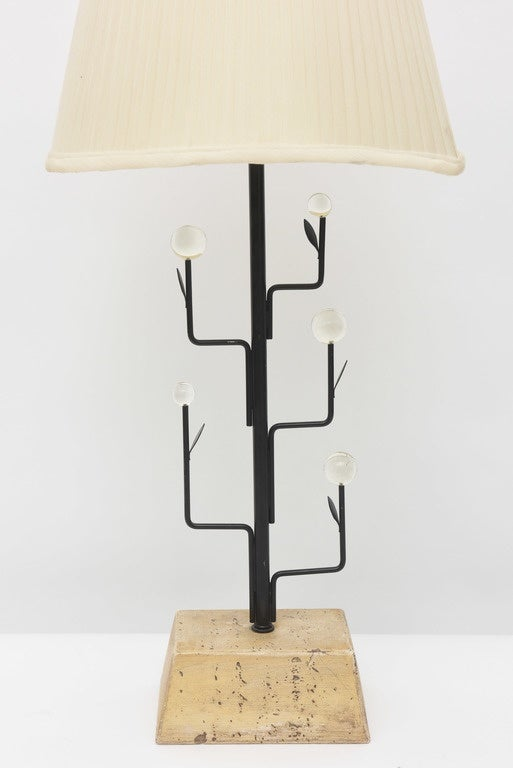 Mid-Century Modern Pair of Italian Modern Iron, Crystal and Travertine Marble Lamps For Sale