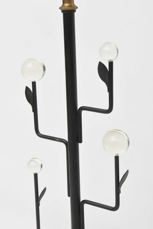 Mid-20th Century Pair of Italian Modern Iron, Crystal and Travertine Marble Lamps For Sale