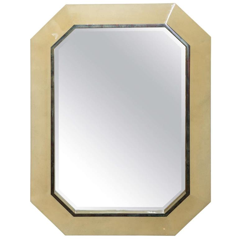 Karl Springer Style Lacquered Octagonal Mirror, USA