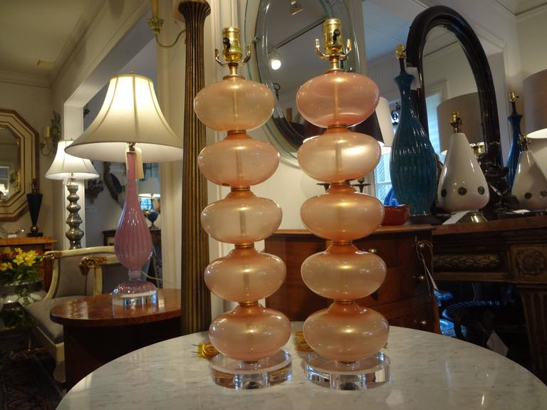 Pair Of  Italian Murano Glass Lamps, Peach Infused With Gold By Balboa 2