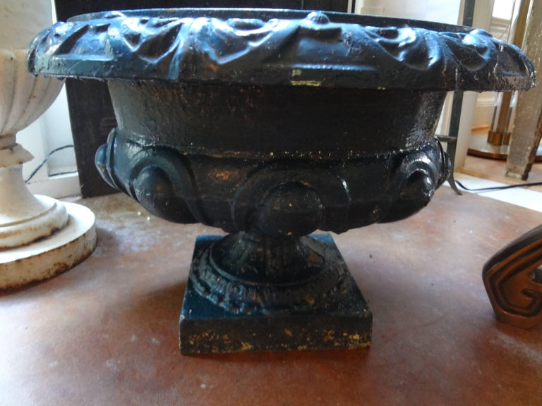 Pair of 19th century French Neoclassical Medici Style cast iron garden urns. These Classic French garden jardinieres are painted in a great teal color and came out of a garden in antibes France.