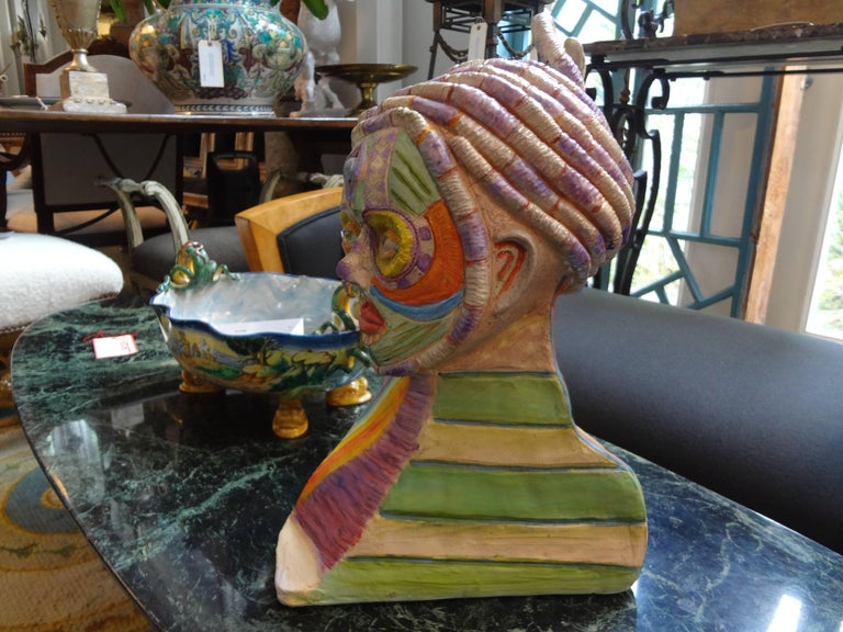 Tribal Style Clay Bust Sculpture, 20th Century In Good Condition For Sale In Houston, TX