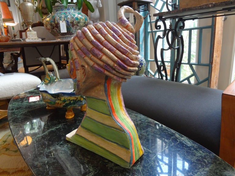 Tribal Style Clay Bust Sculpture, 20th Century For Sale 1