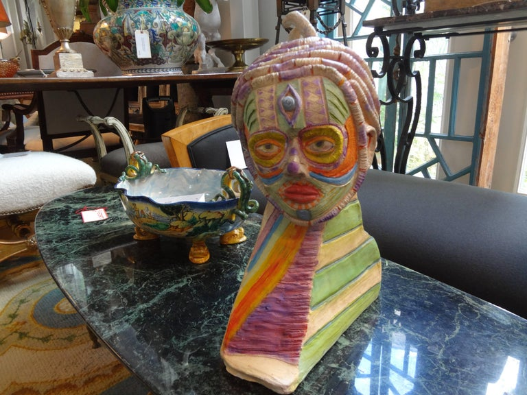 Tribal Style Clay Bust Sculpture, 20th Century For Sale 5