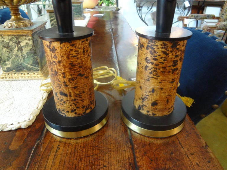 Pair of Mid Century African Inspired Modernist Lamps In Good Condition For Sale In Houston, TX