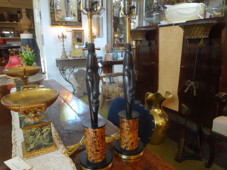 Mid-20th Century Pair of Mid Century African Inspired Modernist Lamps For Sale