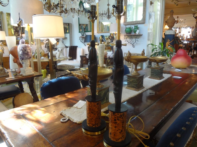 Pair of Mid Century African Inspired Modernist Lamps For Sale 1