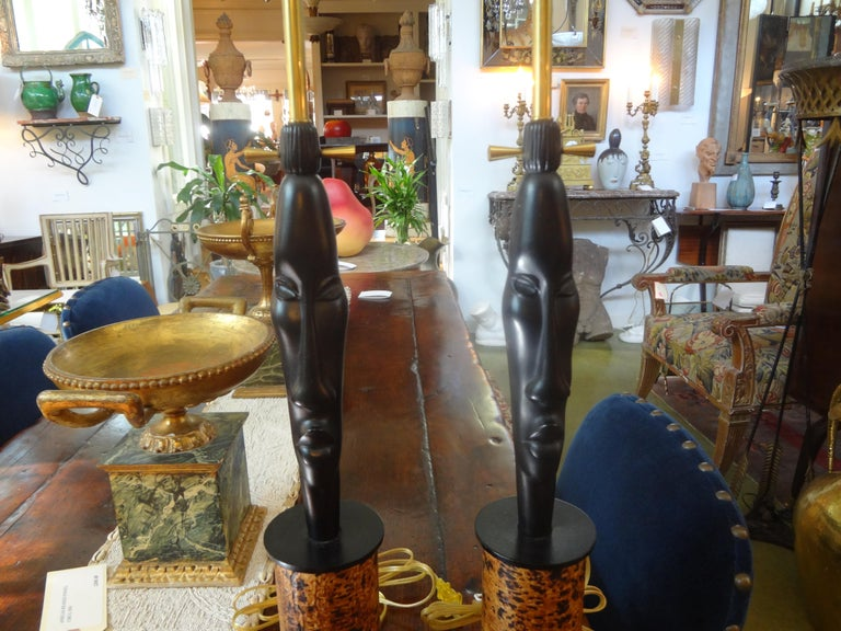 Pair of Mid Century African Inspired Modernist Lamps For Sale 2