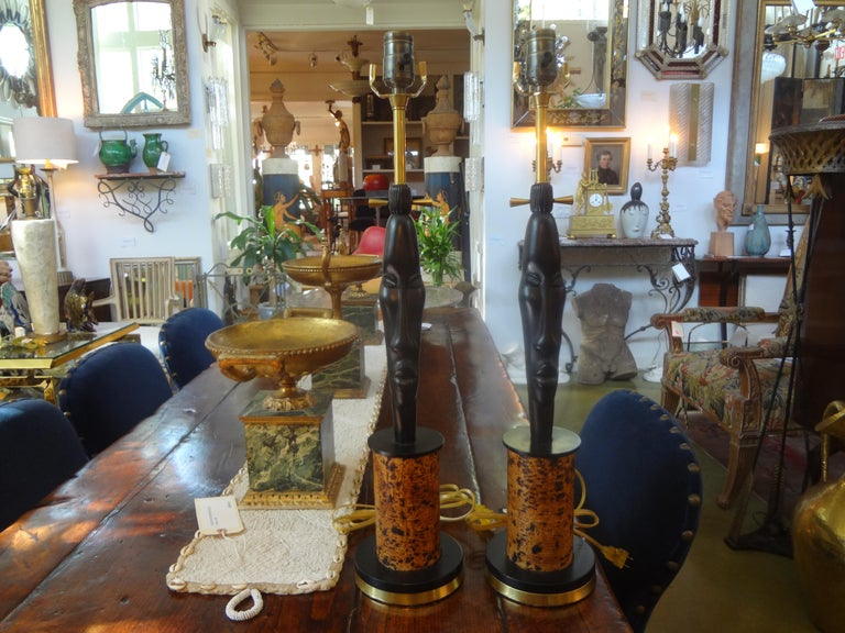 Pair of Mid Century African Inspired Modernist Lamps For Sale 3