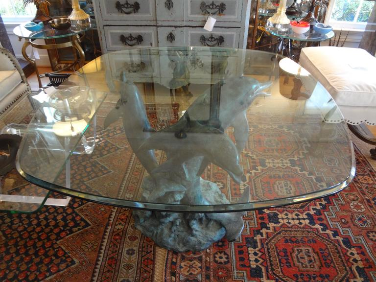 Patinated Bronze Triple Dolphin Center Table With Glass Top 3