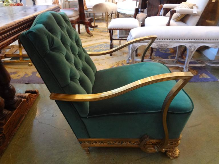 Unusual period French Art Deco brass armchair or lounge chair, circa 1925. This heavy brass chair was used in a private railroad car or coach. Needs new upholstery. Beautifully detailed.