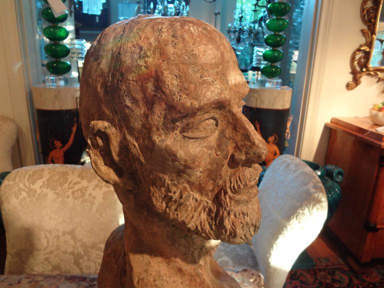 Italian Greco Roman Style Terra Cotta Bust, Italy  For Sale