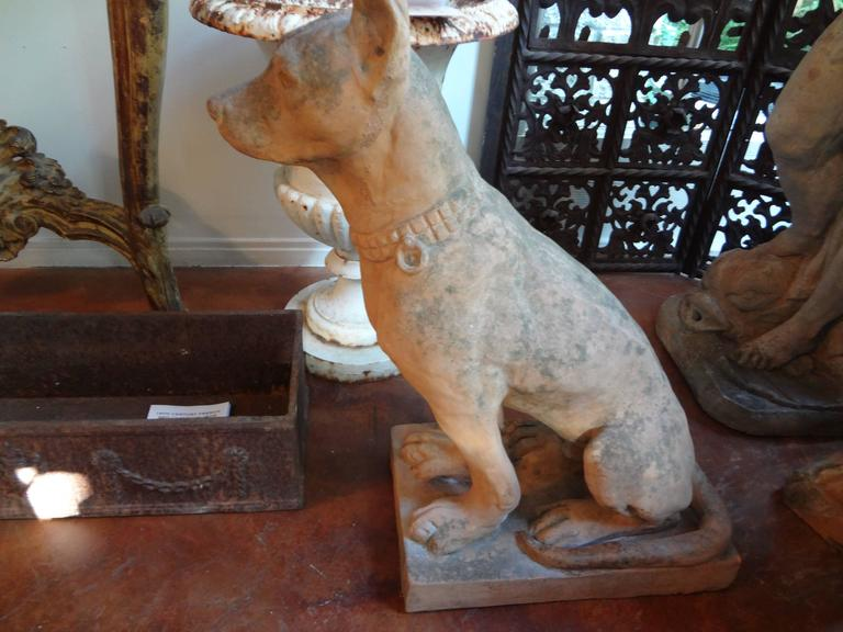 Pair of Antique Italian Terracotta Dog Statues For Sale 1
