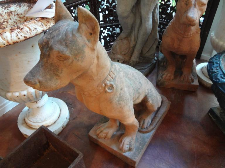 Pair of Antique Italian Terracotta Dog Statues For Sale 4