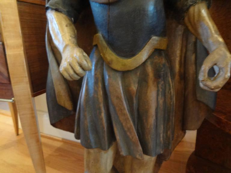 18th Century Spanish Conquistador Carved Wood Figure In Good Condition For Sale In Houston, TX