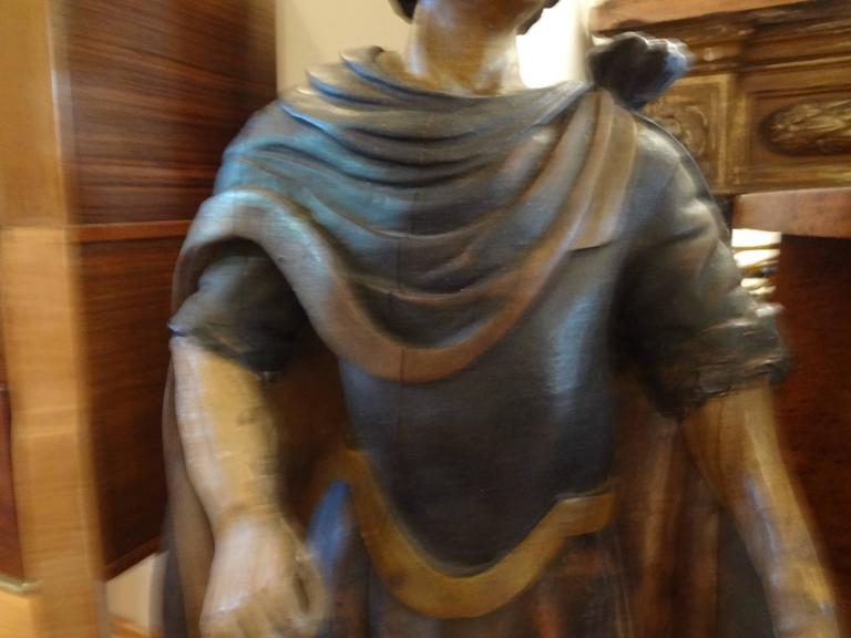 18th Century and Earlier 18th Century Spanish Conquistador Carved Wood Figure For Sale