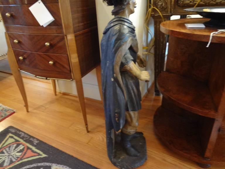 18th Century Spanish Conquistador Carved Wood Figure For Sale 1